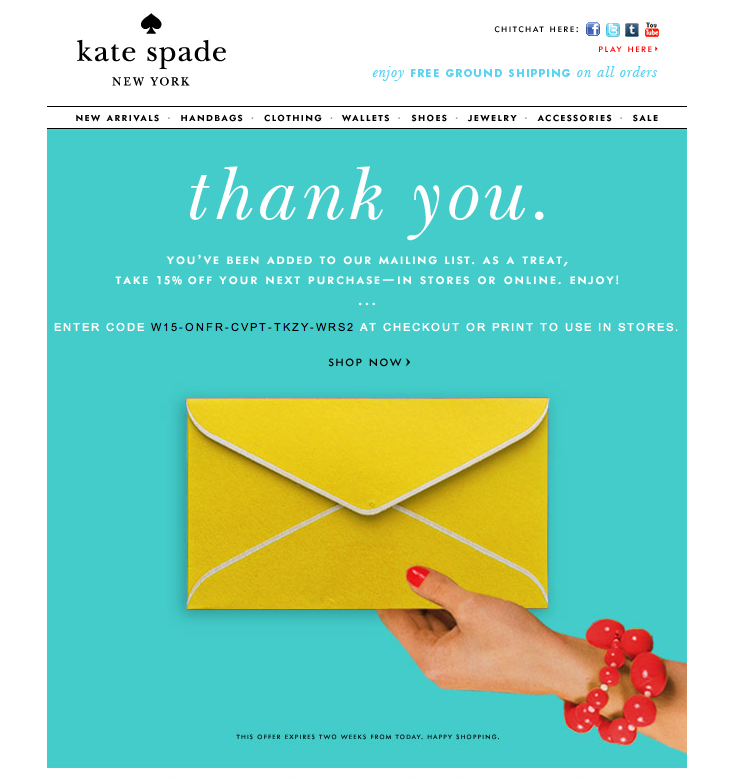 Kate Spade Promo Code For  Off  Note Email Design And Email