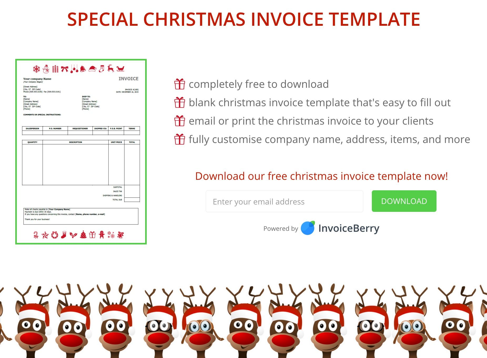 Download Our Christmas Invoice Template Now Get Your Invoices Paid - Quickbooks invoice templates free online weed store