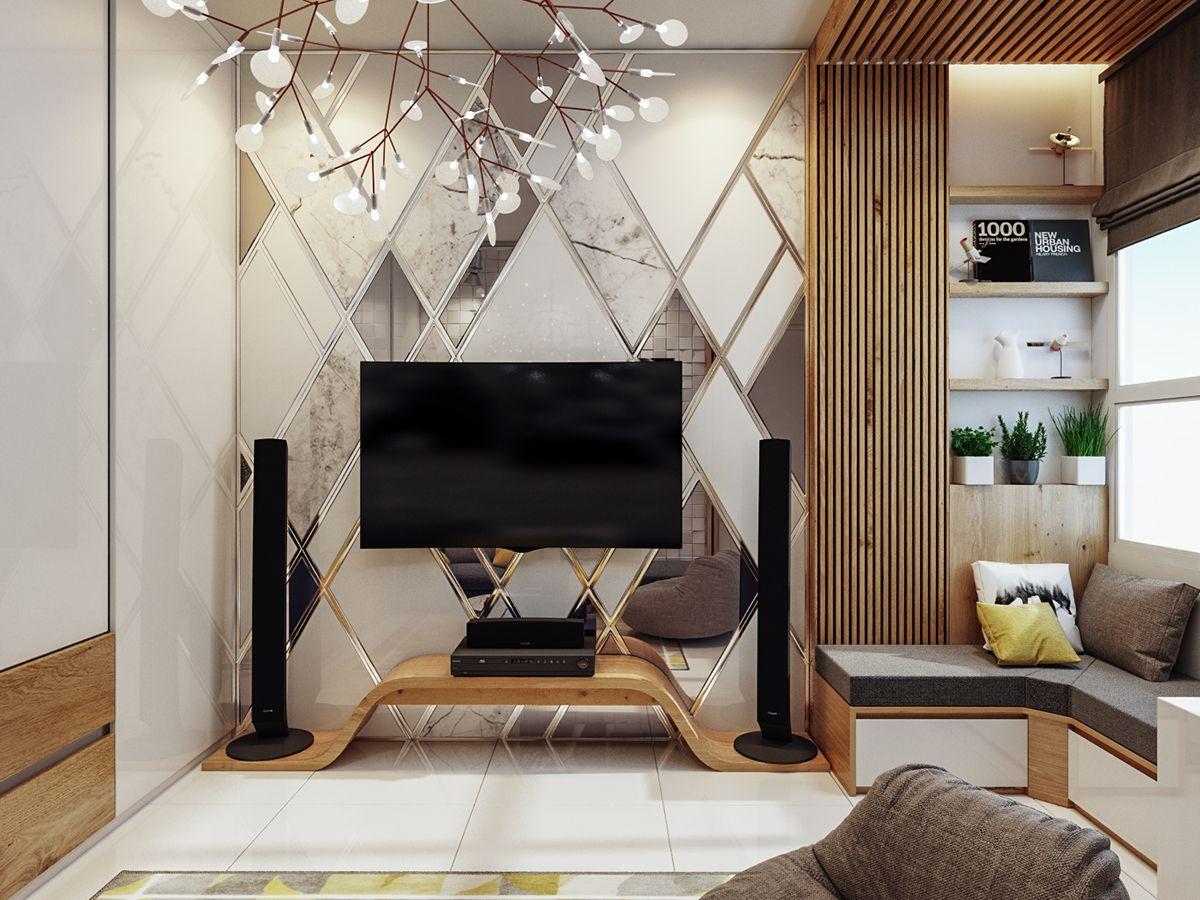 yellow house  chị vân on behance  living room tv wall