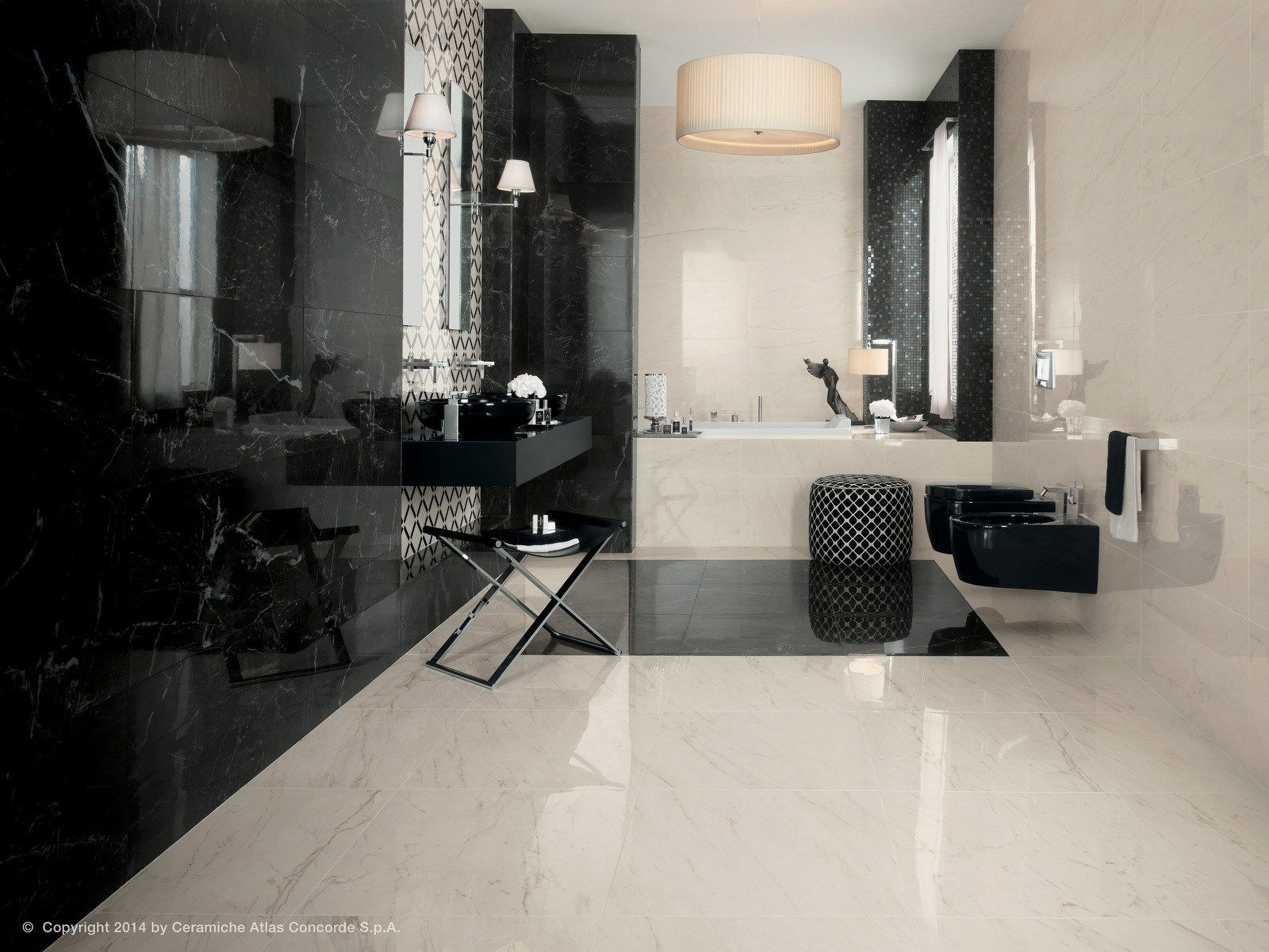 Rev tement mural en c ramique p te blanche effet marbre Revetement mural pour salle d eau