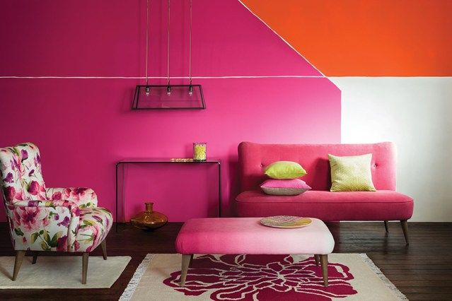 Pink and Orange | Orange color schemes, Living rooms and Room