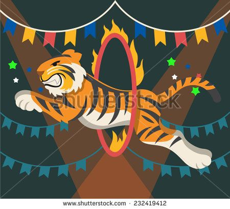 Download Circus arena and tiger. Vector flat illustration - stock ...