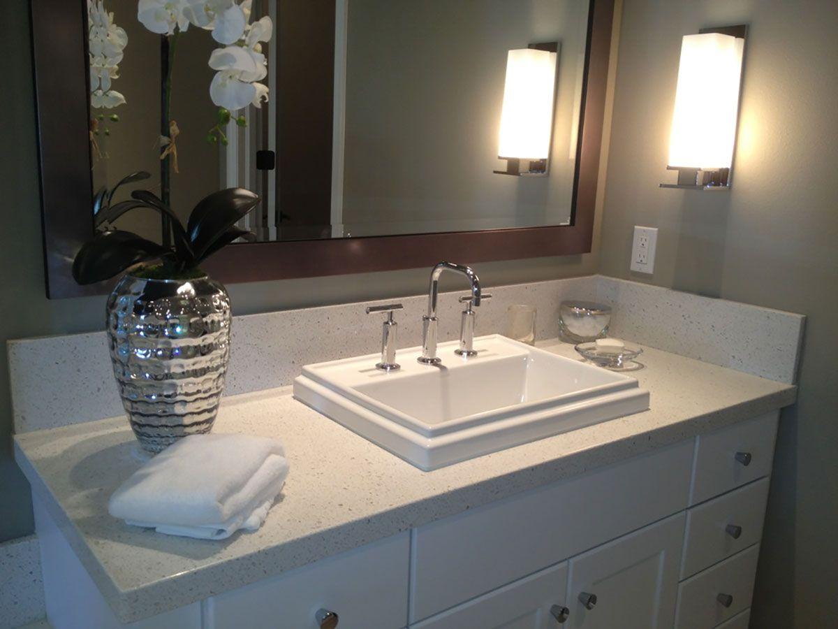 Iced White Quartz Countertops Q, Quartz Countertops Bathroom