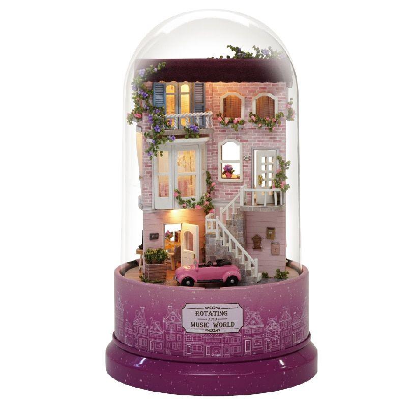 DIY Rotating LED Music Glass Ball Doll House Model Kit Wood Miniature