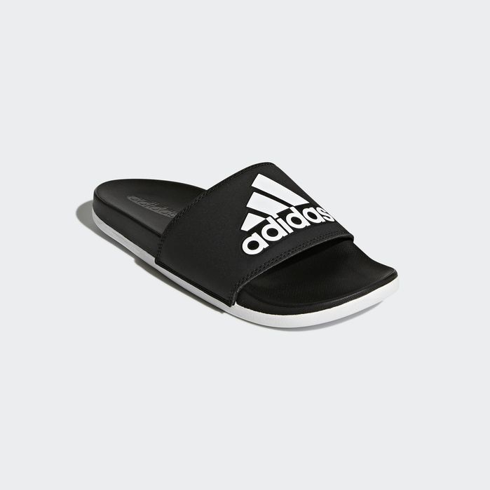 df72cf05b36a80 Adilette Cloudfoam Plus Logo Slides Black 10 Womens