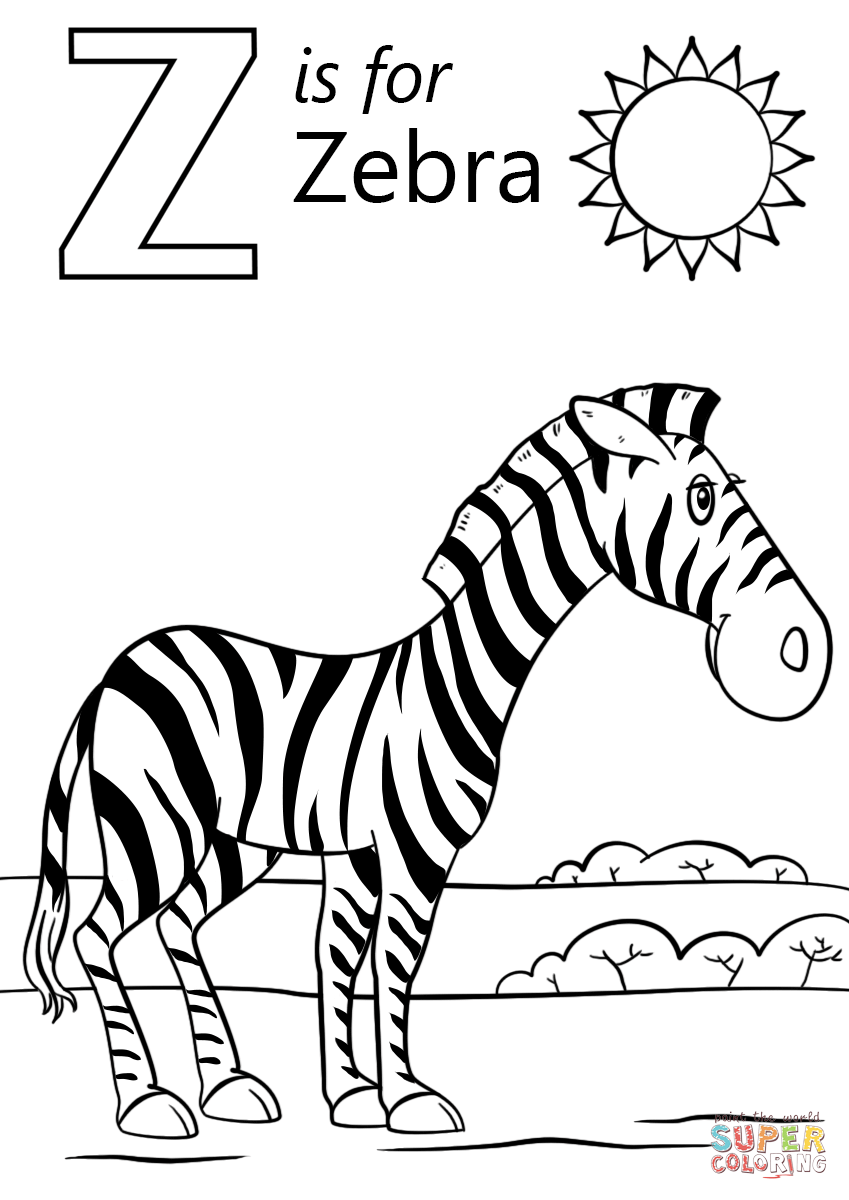 Letter Z Is For Zebra Super Coloring Zebra Coloring Pages