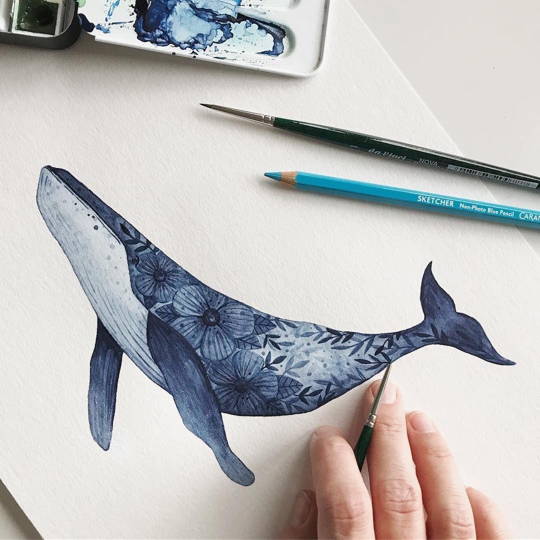 """Petra Heider on Instagram: """"(Werbung/Verlinkung) Endlich ist er fertig. Einen Wal mit Blüten hab ich ja schon mal gemalt, aber diese Variante mag ich fast noch lieber…"""""""