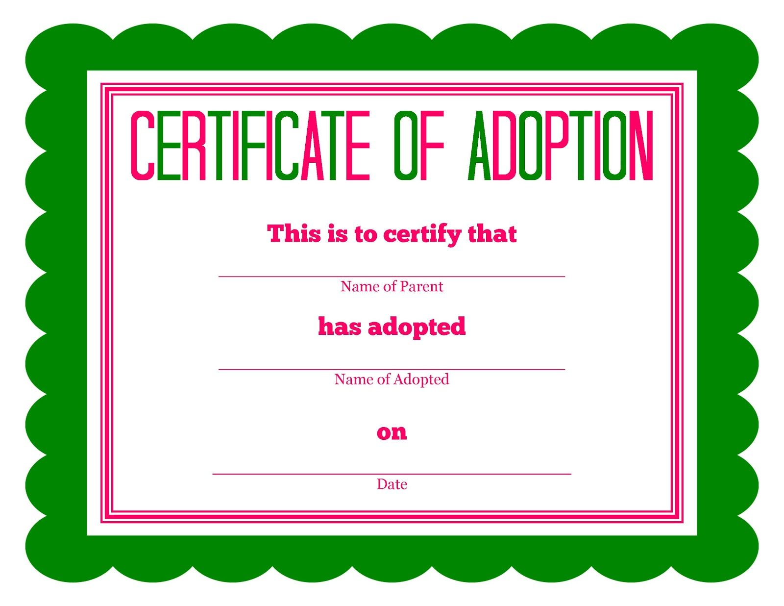 graphic about Pet Adoption Forms Printable named No cost printable Crammed Animal Adoption Certification No cost
