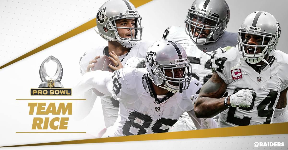 Derek Carr, Amari Cooper, Khalil Mack, and Charles Woodson will be teaming up on #TeamRice at the Pro Bowl! 1/27/2016