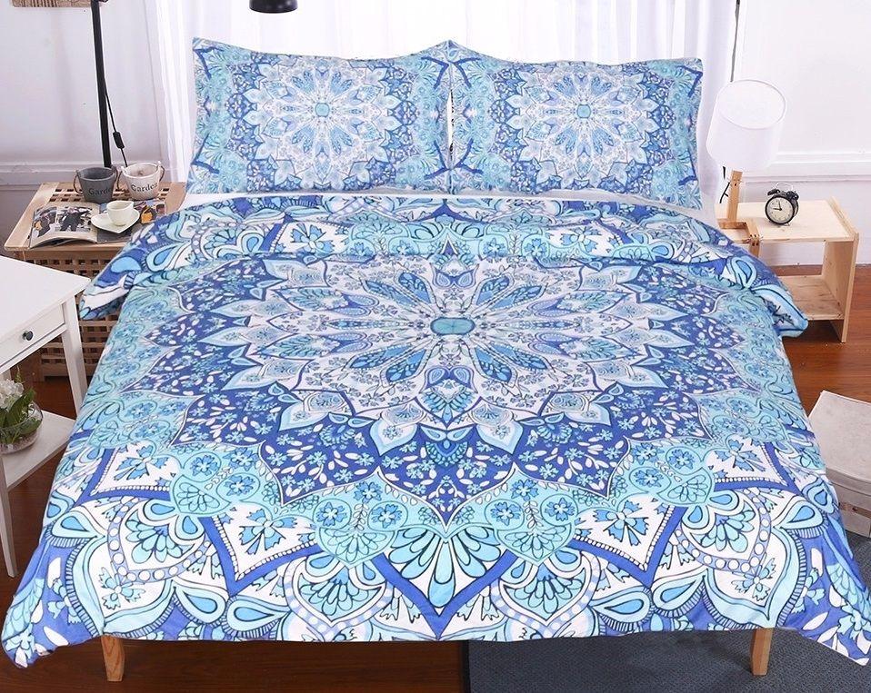 Sky Blue Hippie Mandala Bedding Set Mandala Bedding Boho Bedding Bed Decor