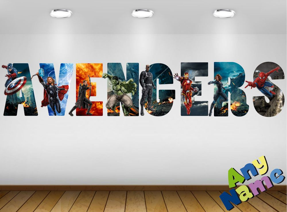MARVEL AVENGERS Name Letters Wall stickers decals (3 PRE-CUT sizes  available) S2