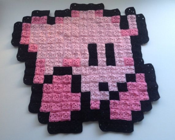 falling kirby 8 bit crochet blanket crochet blankets pinterest