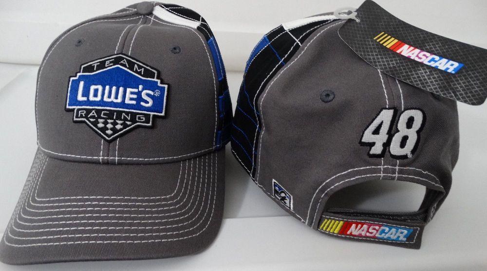 33f6ef855902a Jimmie Johnson  48 Team Lowe s Racing Flag Stand Nascar Hat   HendrickMotorsports