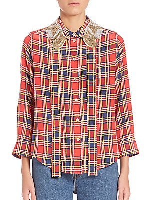 Marc Jacobs Sequin-Collar Plaid Shirt - Red/Yellow/Navy - Size 8