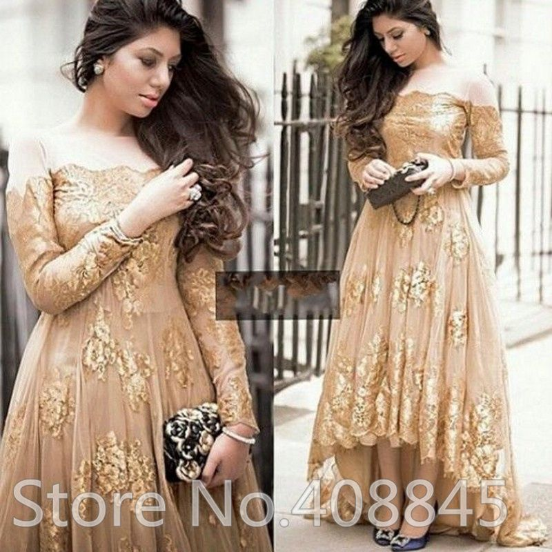 Gold Puffy Prom Dresses High Low