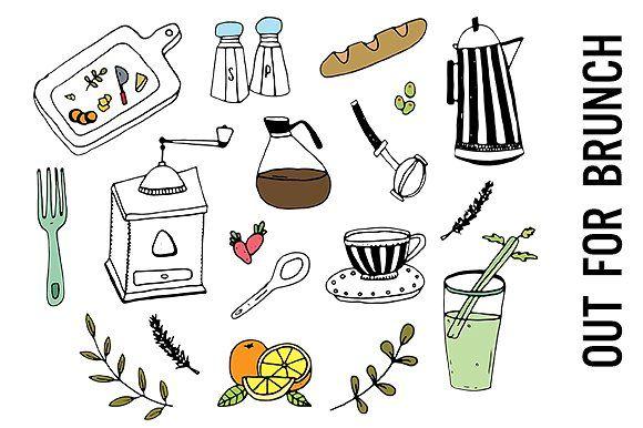 Brunch Food Doodle Clipart Clip Art Food Doodles Doodles
