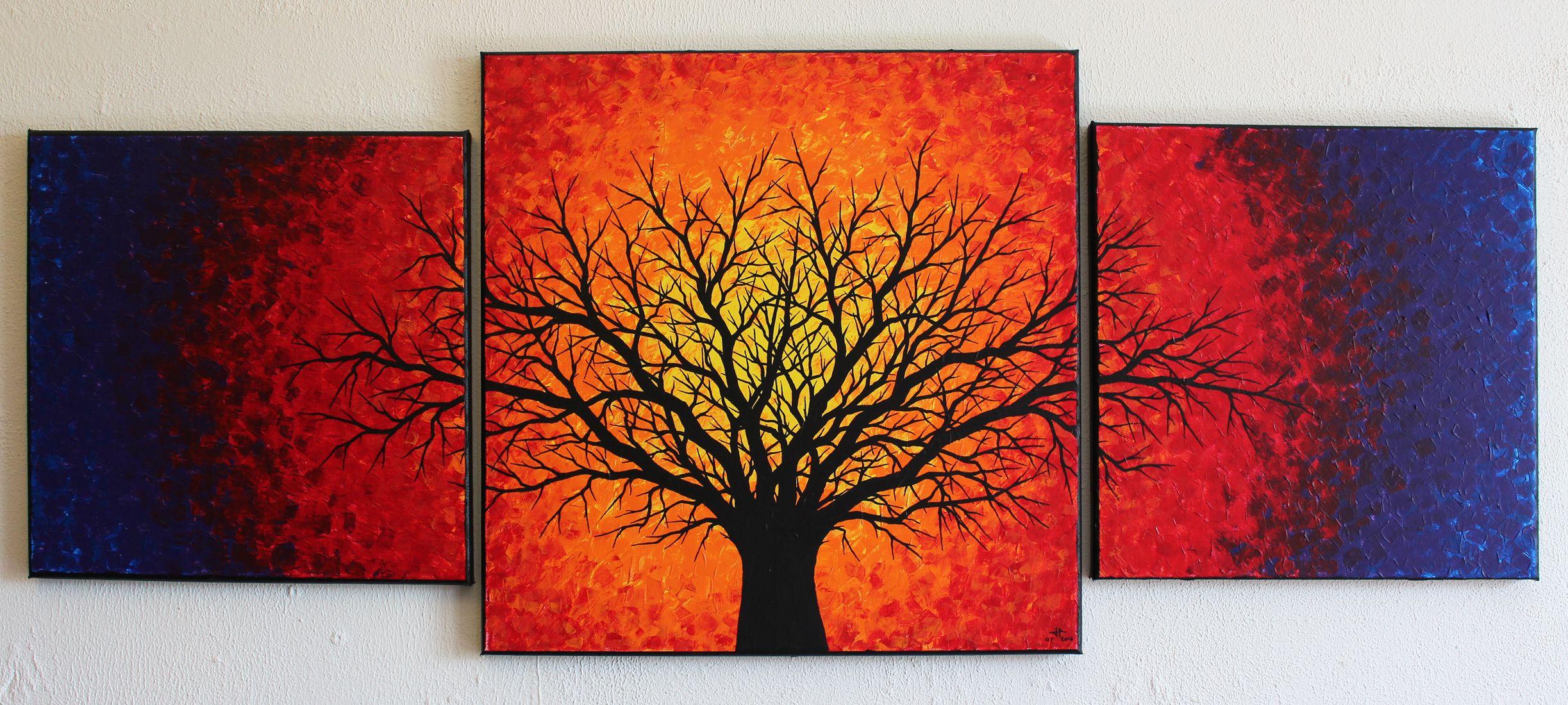 Triptyque réalisé à la peinture acrylique (Pébéo, Studio / Amsterdamer) au couteau, et au Posca (Uni / Style de peinture acrylique) sur châssis en bois entoilé en coton.  Protection : œuvre vernie à la bombe aérosol mat.  Format du triptyque : 40 cm x 102 cm x 1,8 cm. (œuvre vendue) Pour voir toutes les œuvres disponiles à la vente de  cet artiste, rendez-vous sur : http://www.jonathan-pradillon.com #arbre #noir #triptyque #tableau #contemporain #peinture #design #moderne #art #figuratif