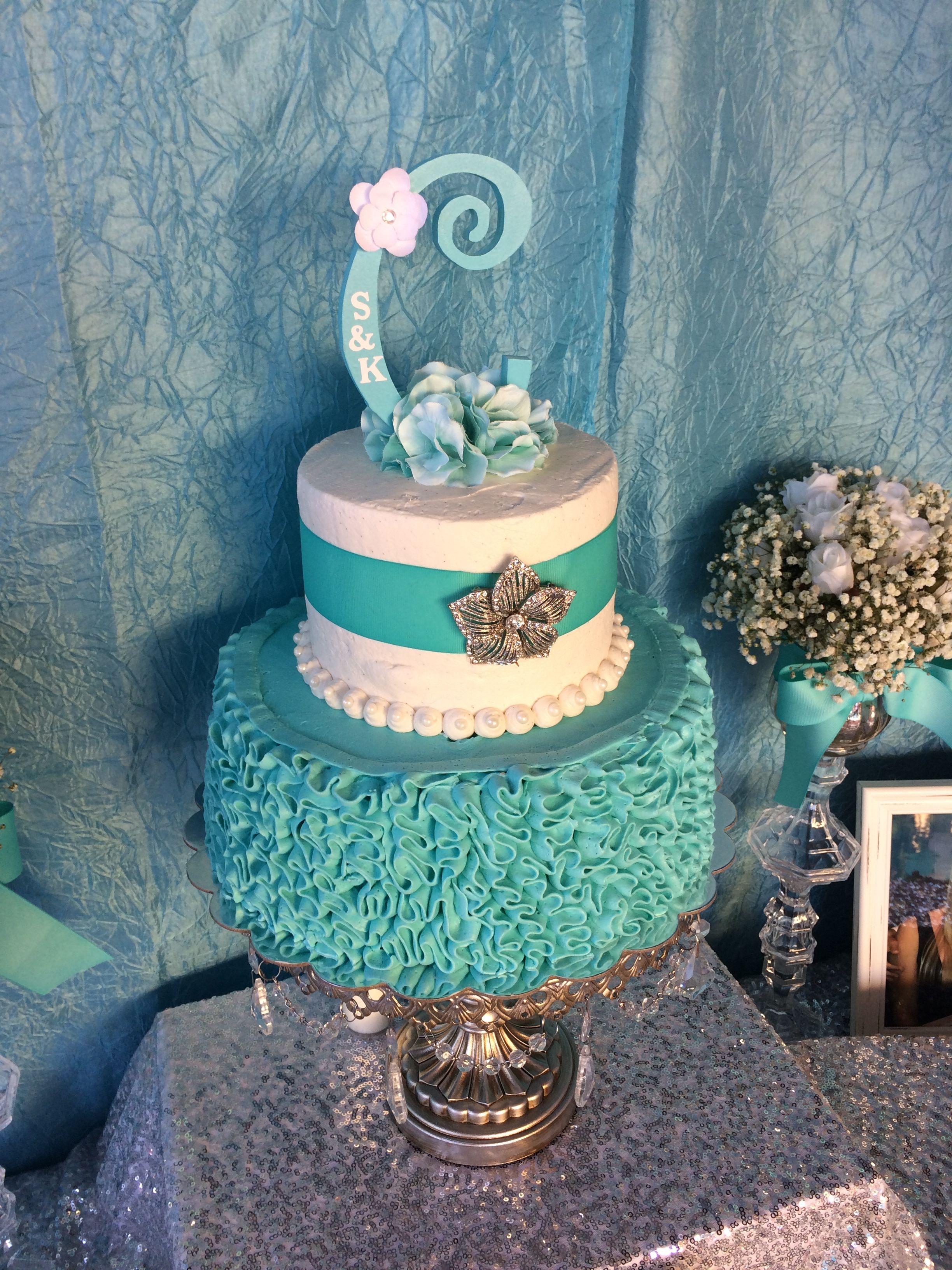 Our Messy Ruffled Buttercream Two Tier Tiffany Inspired Bridal Shower Cake