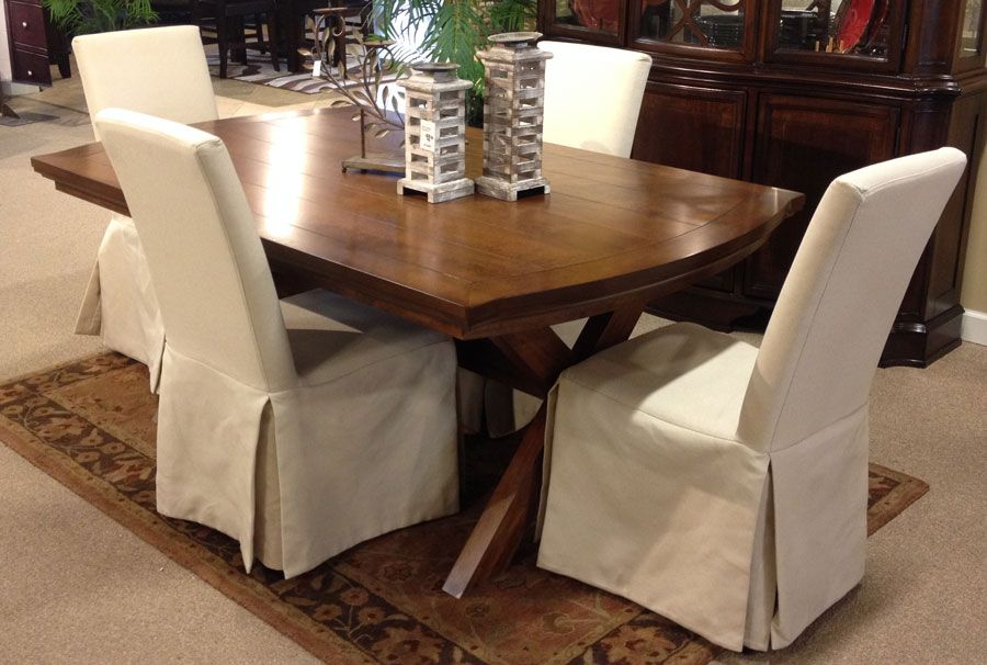 Burkesville Trestle Dining Table With The Deep Burnished Finish Flowing Beautifully Over The Curv Slipcovers For Chairs Trestle Dining Tables Dining Table Top