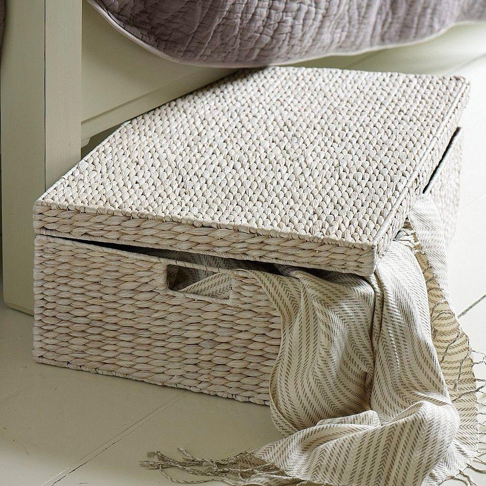 Home underbed storage baskets wicker underbed storage basket - White Underbed Storage Basket