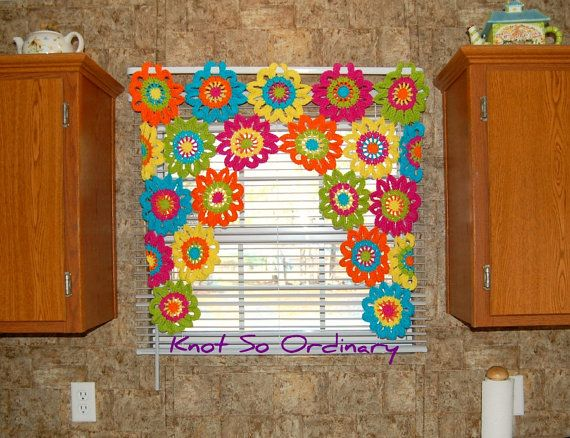 Elegant Window Valance, Flower Valance, Kitchen Curtain, Crochet Curtain, Custom  Curtain, Crochet Flower, Kitchen Valance, Colorful Curtain