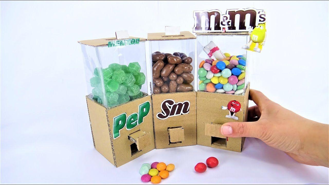 DIY Cardboard Candy Dispenser Vending Machine! SKITTLES M
