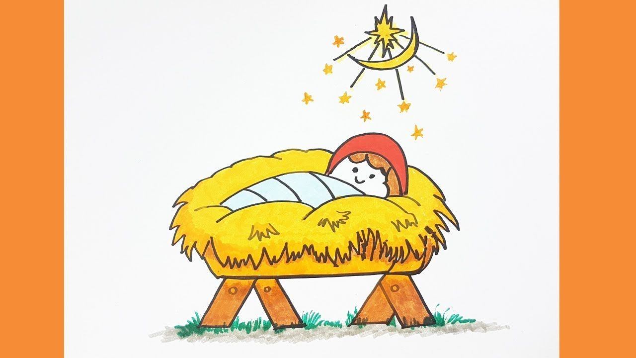 How to Draw Baby Jesus Easy \u0026 Color for kids , Christmas