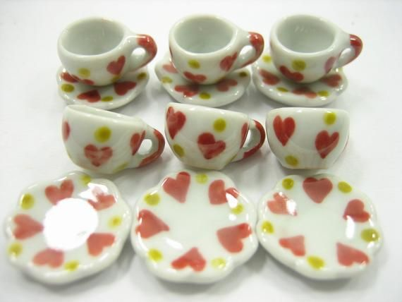 6//12 Heart Coffee Cup Saucer Scallop Plate Dollhouse Miniature Ceramic #S 12616