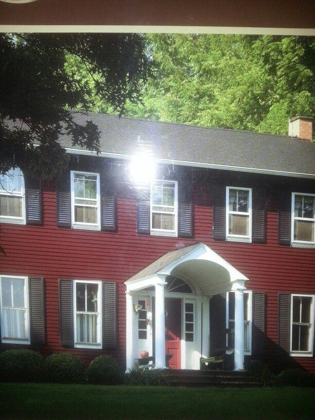 Burgundy Siding Black Shutters White Trim House Exterior House Siding Black Shutters