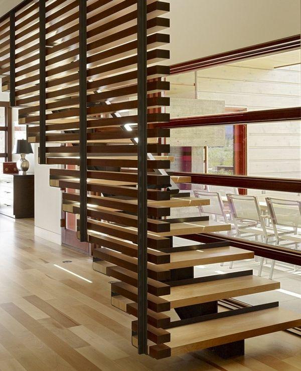 Sehr Gut treppengeländer Raumteiler Ideen aus Holz design raumteiler treppe  SG71
