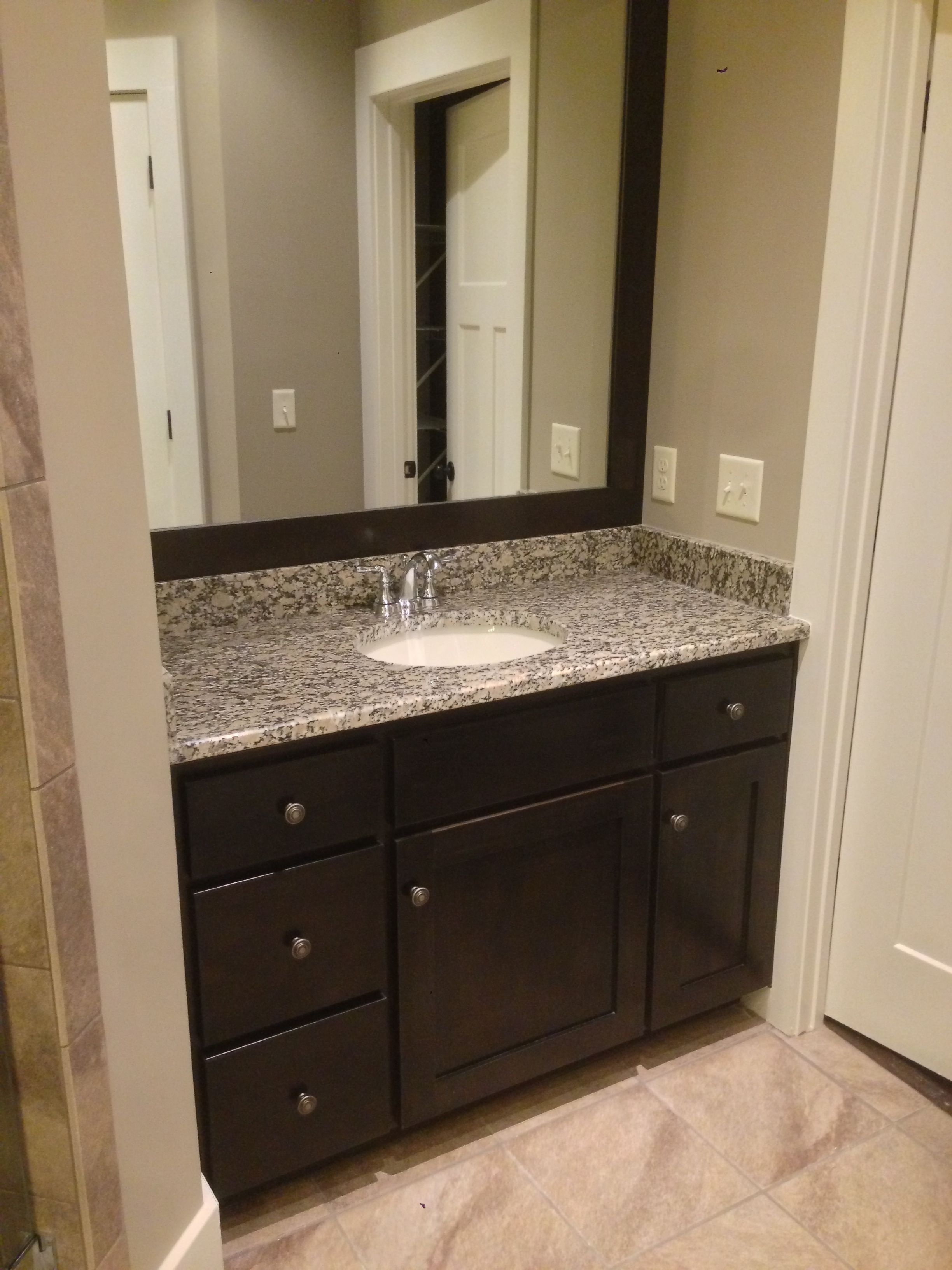 Ebony Stained Bath Vanity With Mirror Frame Stained To Match Bathroom Floor Plans Framed Bathroom Mirror