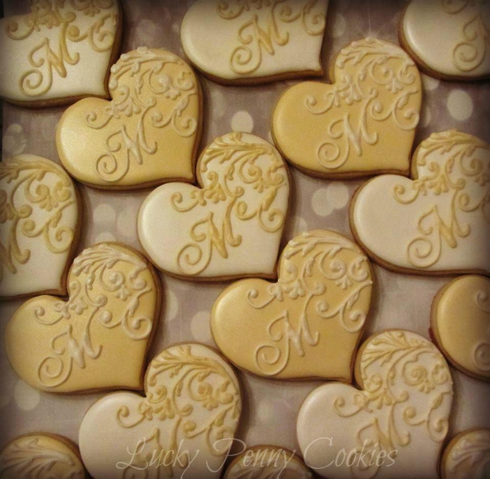 gallery of monogram cookies   Monogrammed wedding hearts ...