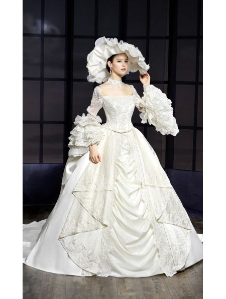 Victorian 1800 Wedding Dress with Short Sleeve
