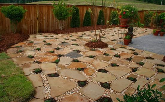 Easy And Cheap Patio Ideas Beautiful Garden And Patio Paving Outdoor Stone Flooring And Grassing Inexpensive Patio Easy Patio Outdoor Stone