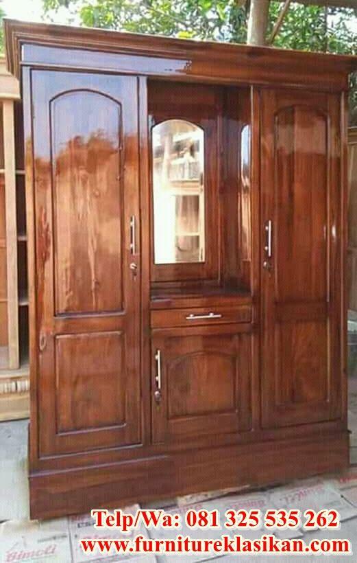 desain 1 lemari pakaian jati ukiran mewah, desainer lemari ...