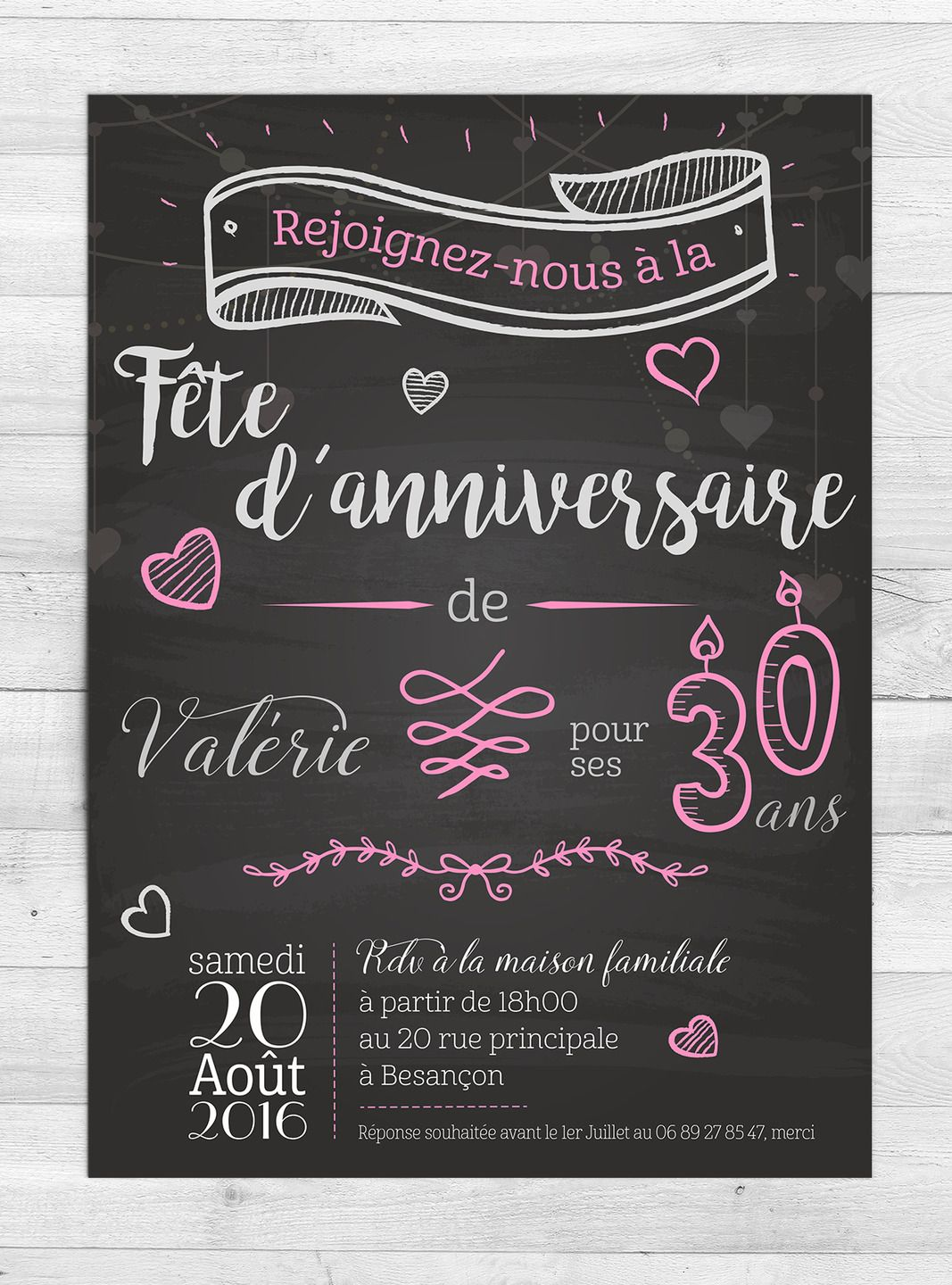 invitation anniversaire romantique faire part par milliegraphie n 39 h sitez pas me contacter. Black Bedroom Furniture Sets. Home Design Ideas