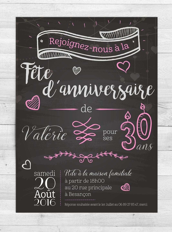 invitation anniversaire romantique faire part par. Black Bedroom Furniture Sets. Home Design Ideas