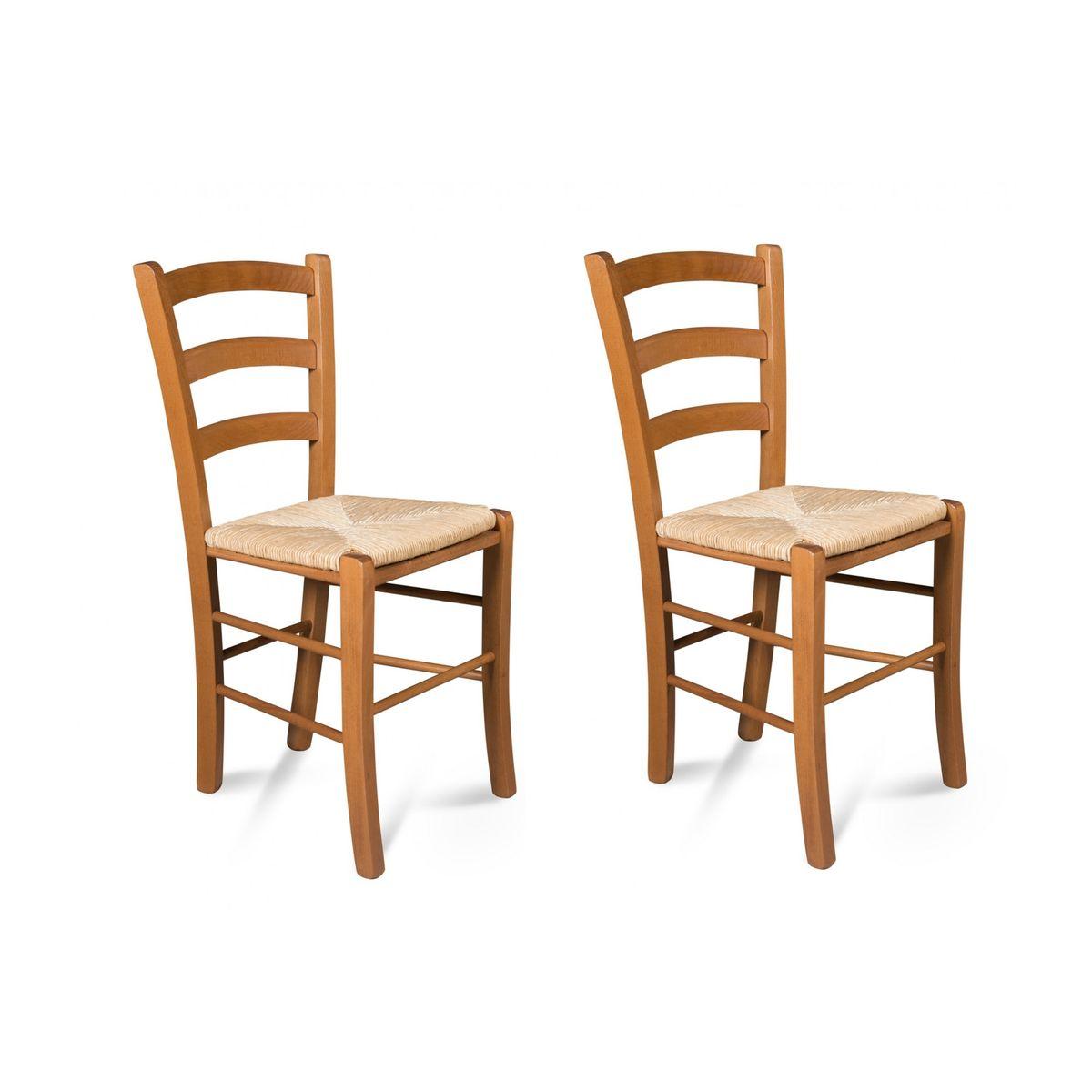 Chaises Bois Assise Paille Tina Lot De 2 Taille Taille Unique Chaises Bois Chaise Et Bois