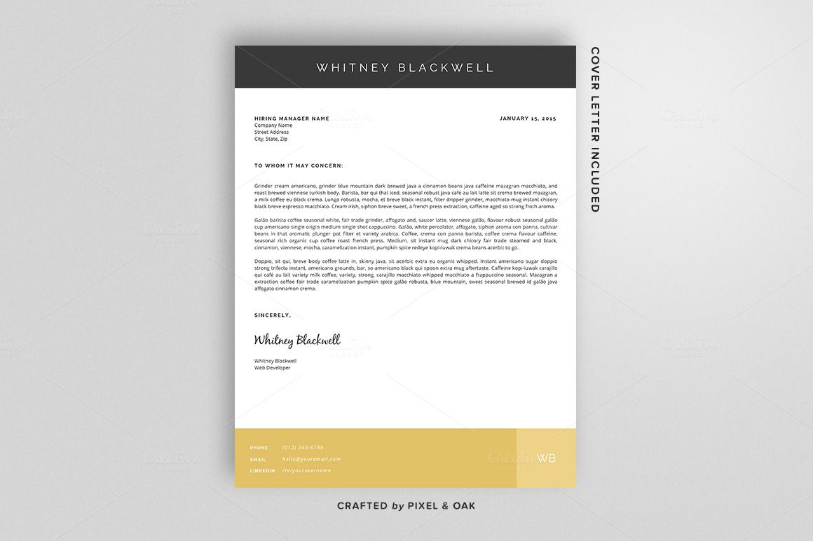 Resume Template | The Whitney 3pk by Pixel & Oak on Creative ...