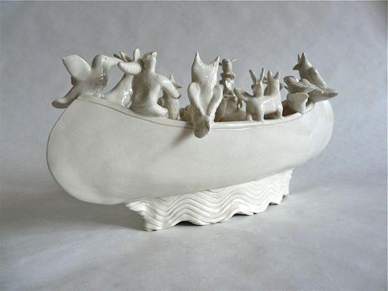 white - boat - ceramic - sculpture - Nancy Walker - life boats
