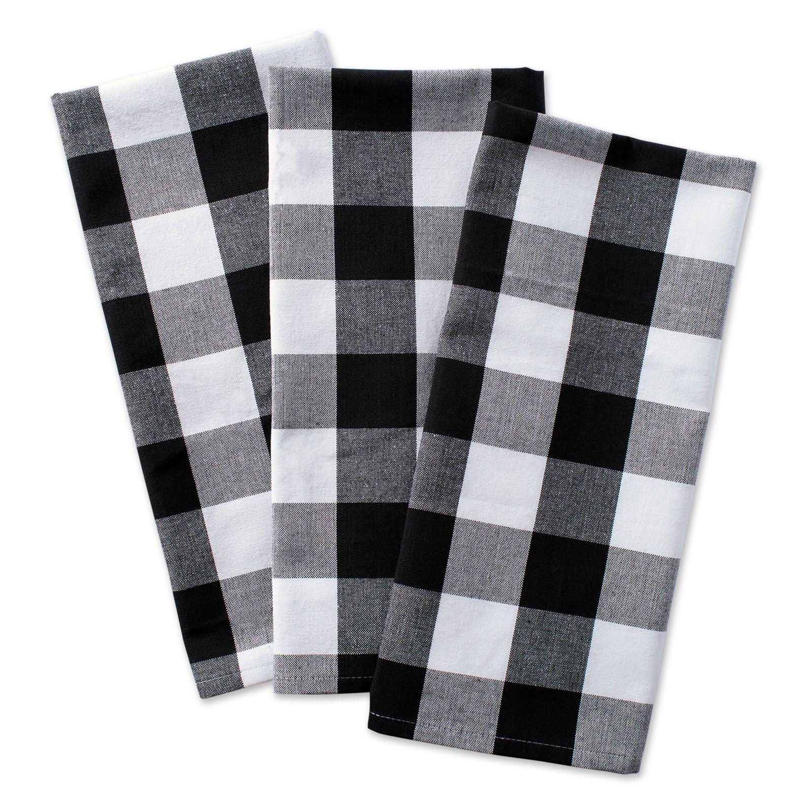 Dii Buffalo Check Dishtowel Set Of 3 Black Dish Towels Buffalo Check Plaid