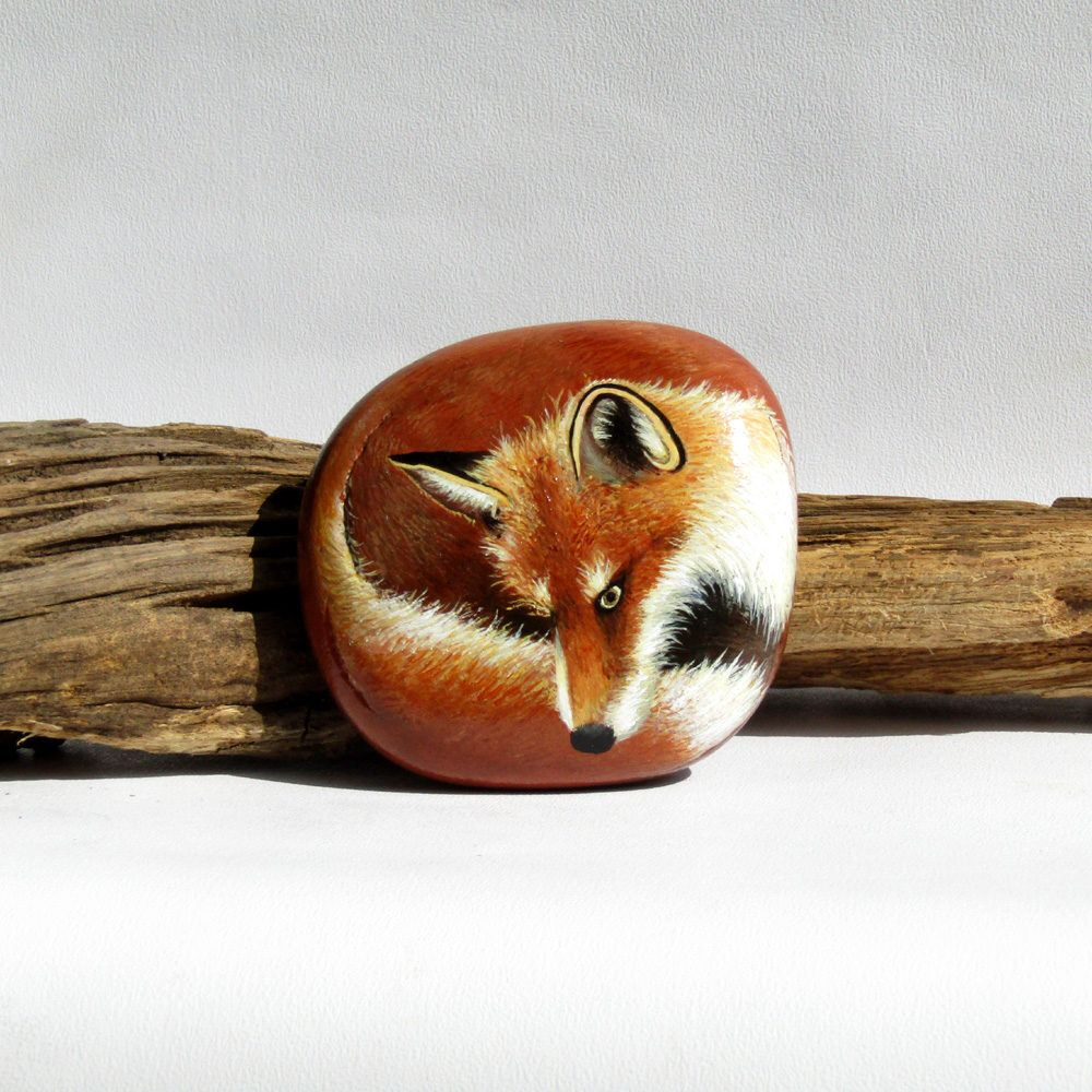 FOX Hand painted stone vixen UNIQUE wildlife nature gift made by artist - original painting artwork on rock lovely housewarming gift outdoor by LiseVittrup on Etsy https://www.etsy.com/uk/listing/521542245/fox-hand-painted-stone-vixen-unique
