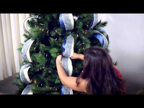 How To Decorate A Christmas Tree With Deco Poly Mesh Youtube Ribbon On Christmas Tree Christmas Tree Decorations Diy Christmas Tree Decorations