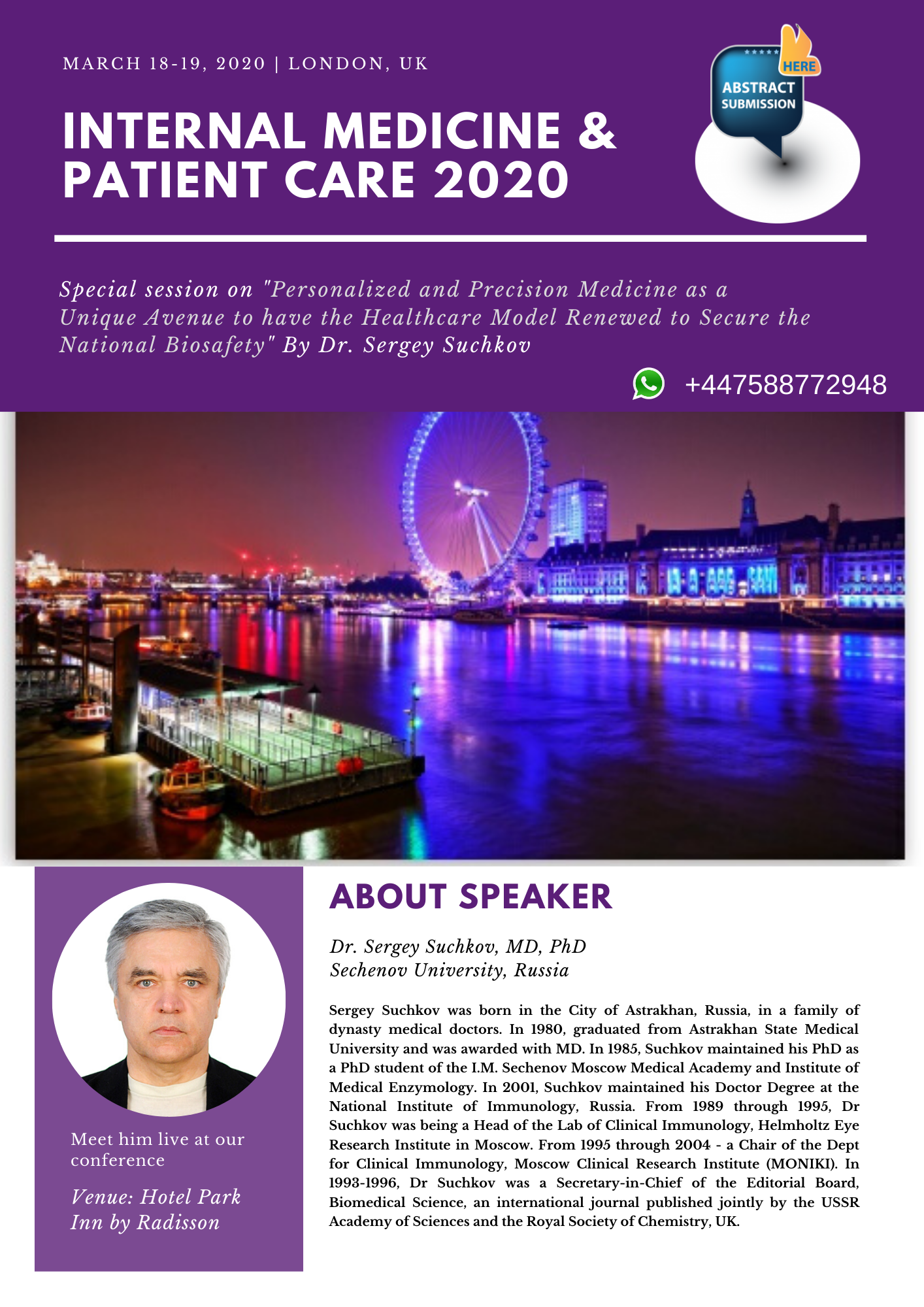 Come and learn INTERNAL MEDICINE 2020 London, UK Visit