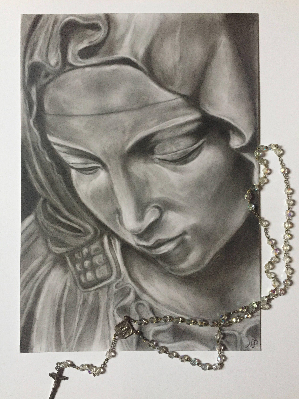 Virgin mary original pencil drawing catholic wall art christian