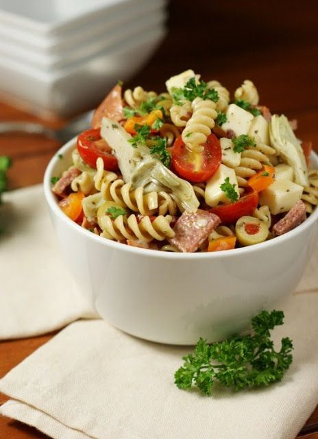 Antipasto Pasta Salad - Chock full of antipasto favorites, this no-mayo pasta salad is one eye-catching, crowd-pleasing summer side.   www.thekitchenismyplayground.com