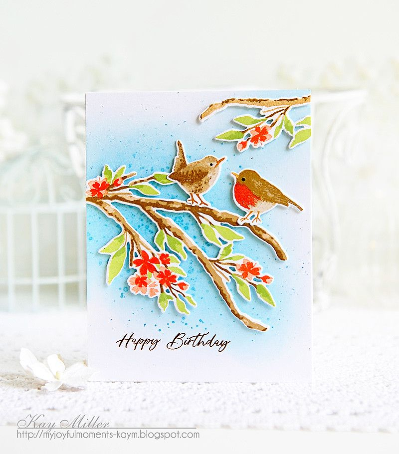 My Joyful Moments The Greetery Blooming Branch And Robin Wren Cards Handmade Stamp Set Card Making Inspiration