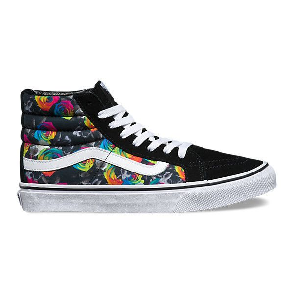 Rainbow Floral SK8-Hi Slim ($70) ❤ liked on Polyvore featuring shoes,