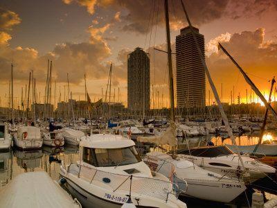 Sunset on the Port Olimpic, Barcelona, Spain
