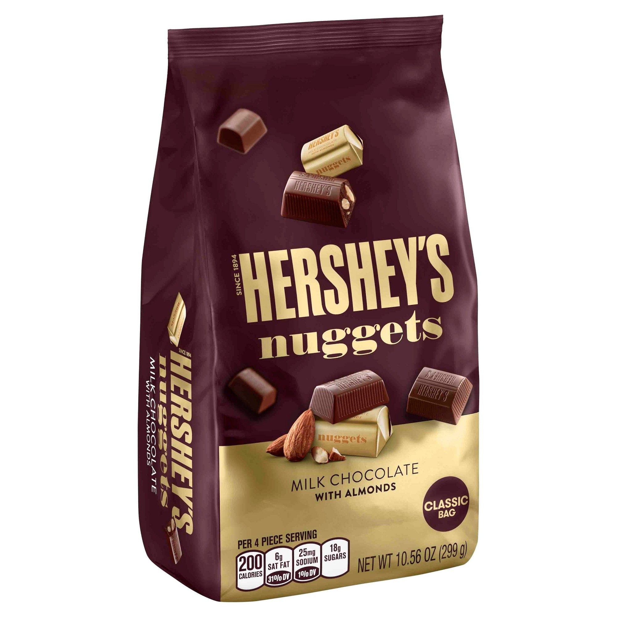 Hershey S Nuggets Milk Chocolate With Almonds Classic Bag 10 56